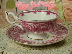 Coalport Pink and White Teacup and Matching Saucer, Vintage Coalport Tea Cup #Coalport