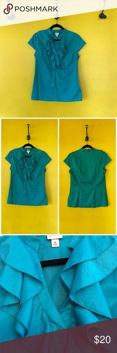 Merona Ruffle Front V neck Top Merona Turquoise Ruffle Front V neck Top  side zip, v-neck with 2 button detail  approx measurements B: 19  L: 21 Merona Tops Blouses