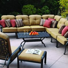 Darlee Elisabeth 8-Person Cast Aluminum Deep Seating Patio Sectional Set With Ice Bucket Insert : Ultimate Patio