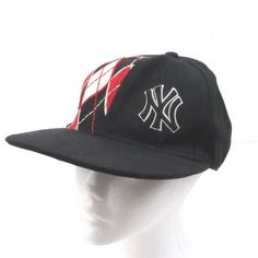 NY New York Yankees Baseball Cap Black Red Argyle Fitted Size 7 1 4 59Fifty 1cf460ab00a8