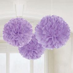 Lilac Fluffy Decorations | 3pc, 16""