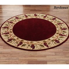 Grapes Napa Border Round Area Rugs Wine Decor Round