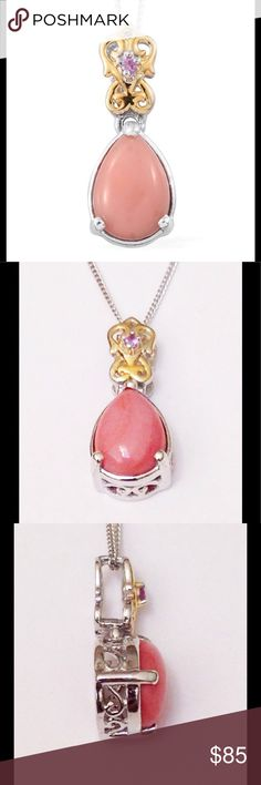 Opal, Oregon Peach Oregon Peach Opal, Madagascar Pink Sapphire(Mined out) accented with 14K YG and Platinum Over .925 Sterling Silver Nickel Free Drop Pendant With Chain (20 in) TGW 1.24 cts.  Oregon peach opal comes from Lake County, Oregon, in the United States. All natural, no enhancement. Jewelry Necklaces