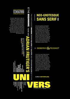 UNIVERS Type Specimen Poster on Behance