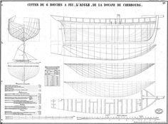 """Le cotre """"l'Aigle"""" de la douane de Cherbourg.  longueur : 15,94 m au pont, bau : 4,20 m creux : 3,24 m tirant d'eau en charge 2,37 m (plan de..."""