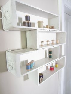 Display shelf from vintage sewing drawers
