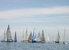 Watching the regatta races on Lake Huron, Michigan