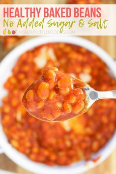 Canned baked beans often contain a lot of added salt and sugar. These homemade beans taste delicious without the need for added salt and sugar. Great for kids #beans #bakedbeans #kidsfood #healthykidsfood