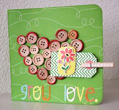 Grow Love card - by Revlie Schuit using Gardenia by American Crafts