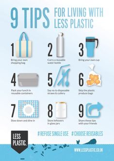 Personal Life: I know I am guilty of buying plastic water bottles and using plastic utensils because they seem more convenient. This list will help me with ways to reduce plastic waste by doing things such as bringing a reusable water bottle. Minimalism Living, 5 Rs, Help The Environment, Plastic Pollution, Ocean Pollution, Plastic Waste, Plastic Plastic, Plastic Recycling, Reuse Plastic Bags