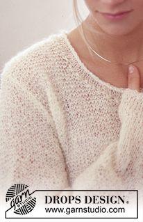 DROPS Pulli in Krausrippen und in Vivaldi oder Brushed Alpaca Silk mit Stickerei in Glitter. Easy Sweater Knitting Patterns, Free Knitting Patterns For Women, Knitting Stitches, Knit Patterns, Clothing Patterns, Drops Design, Magazine Drops, Summer Knitting, Mohair Sweater