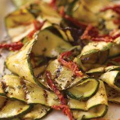 marinated grilled zucchini with oregano and dried-tomato vinaigrette