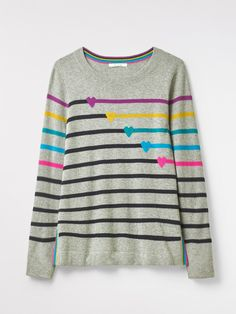 Buy White Stuff Shoot Hearts Jumper, Grey Mix from our Women's Knitwear range at John Lewis & Partners. White Stuff, Neck Pattern, Mixing Prints, Comfortable Outfits, My Wardrobe, Looks Great, Knitwear, Jumper, Midi Skirt