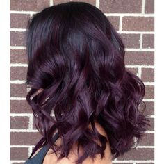 Plum to Black Ombre Hair hair, Best Ombre Hairstyles - Blonde, Red, Black and Brown Hair Black Hair Ombre, Dark Purple Hair, Ombre Hair Color, Burgundy Hair Ombre, Plum Hair Colour, Dark Plum Brown Hair, Burgundy Balayage, Purple Hair Highlights, Violet Ombre