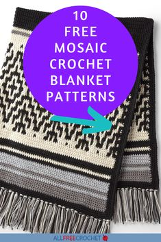 10 Free Mosaic Crochet Blanket Patterns - The mosaic crochet technique works so well for blankets! Check out these pretty and unique mosaic afghans. Striped Crochet Blanket, All Free Crochet, Tapestry Crochet, Mosaic Designs, Afghan Crochet Patterns, Afghans, Blankets, Unique, Blog