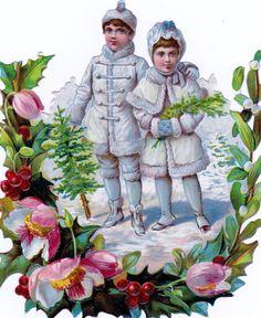 alte  Oblate, 15 cm groß, kein Nachdruck, , ca. 1880, Winterkinder, Schneekinder