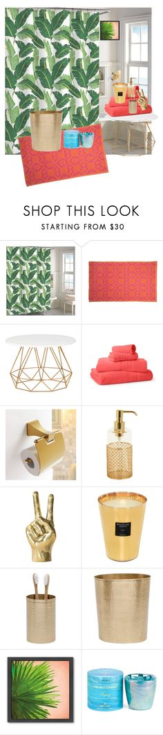 Tropical Bathroom Decor by modernmelanin on Polyvore featuring interior, interiors, interior design, home, home decor, interior decorating, John Robshaw, Pigeon & Poodle, Saks Fifth Avenue Collection and Villari