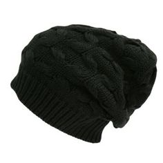 Black Thick Oversized Slouchy Cable Knit Beanie Cap Hat