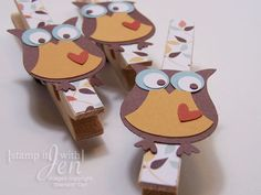 11/22/2022; Jennifer Jackson at 'stamp it with Jen' blog; here is our little friendly owl used in a different format: clothespin magnets
