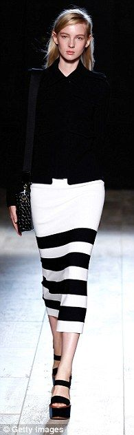 Op-art: There was a Sixties feel in monochrome pieces with graphic black-and-white stripes. Victoria Beckham