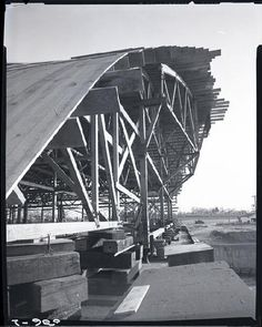 Lambert Airport terminal under construction. Photograph by Henry T. (Mac) Mizuki, April 2, 1954. Mac Mizuki Photography Studio Collection, Missouri History Museum. | collections.mohistory.org