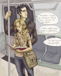 """haha annabeth's all """"you better be joking don't interrupt me while I'm readin"""" And percy just looking cute and look at his arm wrapped around her ugh just too adorable"""