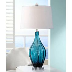 Possini Euro Sophie Blue Fluted Art Glass Table Lamp