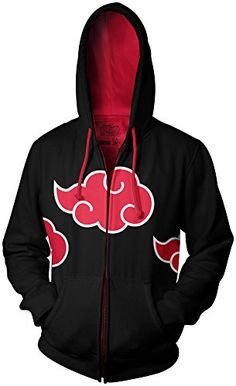 Naruto Shippuden Akatsuki Red Clouds Adult Black Zip Up Hoodie