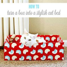 I don't have a cat but this would make a great gift for someone who does. Turn an Ordinary Cardboard Box Into a Stylish DIY Cat Bed Homemade Cat Beds, Diy Old Tshirts, Diy Cat Tent, Cat Tree Plans, What Cat, Box Bed, Cat Garden, Cat Furniture, Pet Beds