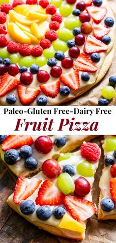 "This paleo fruit pizza has a sugar cookie crust with a cashew ""cream cheese"" icing and all your favorite seasonal fruit on top! It's gluten-free, grain free, paleo, and the perfect dessert for summer gatherings. Paleo Dessert, Paleo Fruit, Paleo Sweets, Paleo Food, Healthy Fruits, Healthy Smoothies, Smoothie Recipes, Gluten Free Baking, Gluten Free Desserts"