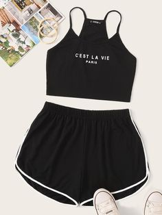 To find out about the Slogan Print Cami Top and Dolphin Shorts Set at SHEIN, part of our latest Two-piece Outfits ready to shop online today! Cute Lazy Outfits, Teenage Outfits, Casual Skirt Outfits, Teen Fashion Outfits, Mode Outfits, Summer Outfits, Girl Outfits, Club Outfits, Punk Fashion