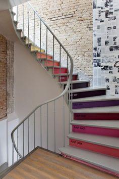 Escalier - Contre-marches en couleurs