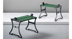 Folke Bensow Pair of benches, 1920s Cast iron, painted oak. Each: 50.5 x 64 x 47.2 cm (19 7/8 x 25 1/4 x 18 5/8 in.) Manufactured by Näfveqvarns Bruk AB, Sweden.