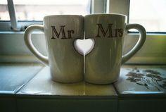 Coffee mugs via Blushing Bride Wedding
