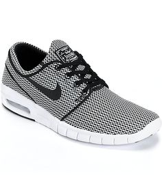 best service 08fe0 6b5ef Show up in style with these Nike SB Stefan Janoski Max shoes that ll have  your friends and haters drooling in envy. A lightweight black and white  woven knit ...
