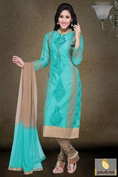 A wonderful turquoise art silk party salwar suit with discount offer online…