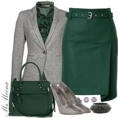 Can't do skirts but love the colour contrast and the blouse/blazer combo.