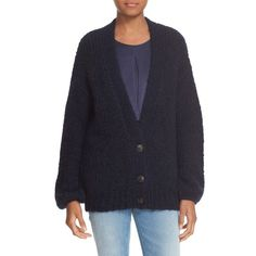 Women's Elizabeth And James Cardigan Sweater ($355) ❤ liked on Polyvore featuring tops, cardigans, royal, button front cardigan, blue top, blue cardigan, elizabeth and james top and chunky knit cardigan