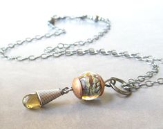 pendant necklace with lampwork glass faceted beer by theBeadAerie, $58.00
