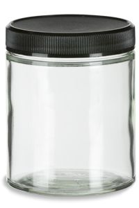 Specialty Bottle - 6 oz Clear Straight Sided Glass Jar with Black Plastic Lid, $0.86 (http://www.specialtybottle.com/glass-jars/clear-straight-sided/plastic-lid/6oz-ss6ct)