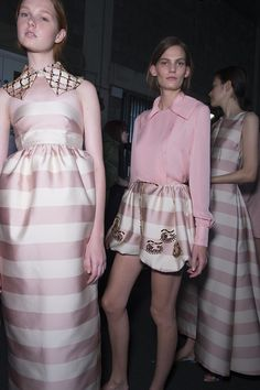 Feminine verve at Emilia Wickstead's runway show at London Fashion Week, where pinks and stripes featured graphic #Swarovski crystal eyes