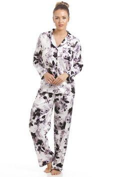 Womens Full Length Button Front Pyjama Set A Stunning Grey Pyjama Set With  A beautiful Smoked Black Floral Print Features Front Pocket On Pyjama Top  Machine ... 28edacc83