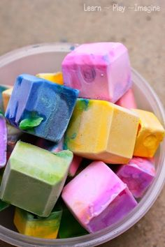 How to make erupting ice chalk as part of a sidewalk chalk play date - fun for all ages!