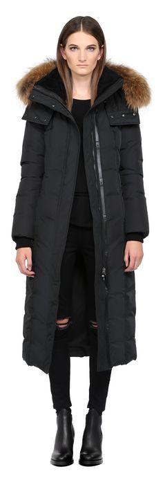 JADA | BLACK LONG DOWN COAT WITH FUR HOOD FOR WOMEN | MACKAGE