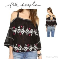 FP Embroidered Off Shoulder Pullover style Free People embroidered peasant top. Off-Shoulder Neckline, Open back with cross cross straps, three quarter sleeves and Elasticized hem. Viscose/Linen. Machine Wash Free People Tops