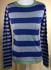 Jacob Women Cotton Cashmere Wool Small Sweater Blue Grey Long Sleeve Stripes | eBay