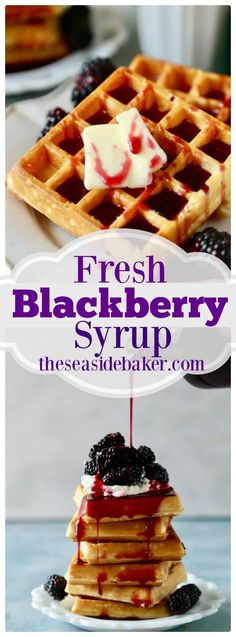 Fresh Blackberry Syrup with Belgium Waffles will be the best breakfast you have had all year! | #belgiumwaffles #blackberrysyrup #breakfastrecipe | See this and other delicious recipes at TheSeasideBaker.com Coffe Recipes, Fruit Recipes, Sweet Recipes, Surimi Recipes, Best Breakfast Recipes, Brunch Recipes, Breakfast Ideas, Blackberry Recipes Breakfast, Recipes