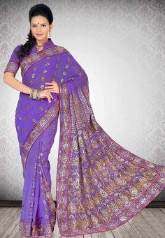 Purple / gold bling  http://www.utsavfashion.com/saree/purple-faux-chiffon-saree-with-blouse/ssx4710-itemcode