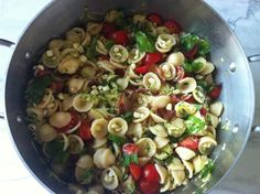Summer Pasta Salad...Orecchiette with tomatoes, sweet corn, zucchini, basil, bacon & parmesan cheese.