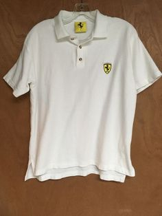Ferrari Polo Golf Shirt Large White Officially Licensed 1998 Short Sleeve #NiceManSports #PoloRugby